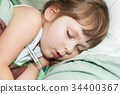 Sick child spleeping 34400367