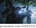 Special Forces soldiers in action. Elite squad moves through fog and smoke. 34401032