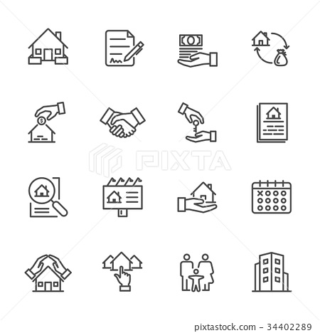 Real Estate, Vector illustration of thin line icon 34402289