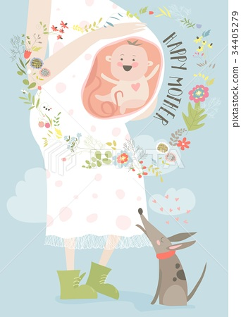 Pregnancy concept card in cartoon style 34405279