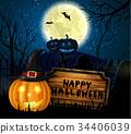 Halloween spooky background 34406039