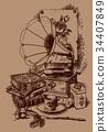 英國古色古香的玩具的例證畫與筆 34407849