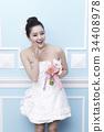 미소, 웨딩드레스, 젊은여자 34408978
