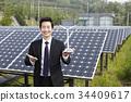 비즈니스맨, 웃음, 태양열발전소 34409617