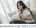 미소, 음료, 젊은여자 34411124