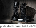 Black leather military combat boots 34415829