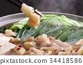 찌게 찌개 냄비 하카타 하카타 명물 일식 가진 호르몬 곱창 전골 김 부추 고추 겨울 34418586
