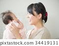微笑妈妈抚养宝宝 34419131