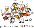 international cuisine chefs group cartoon 34420914