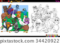 bird characters group coloring book 34420922