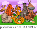 dog characters group cartoon illustration 34420932
