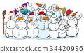 snowman, character, cartoon 34420956