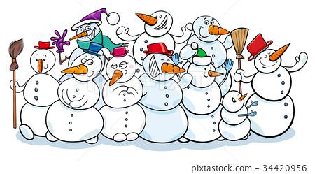 happy snowmen group cartoon illustration 34420956