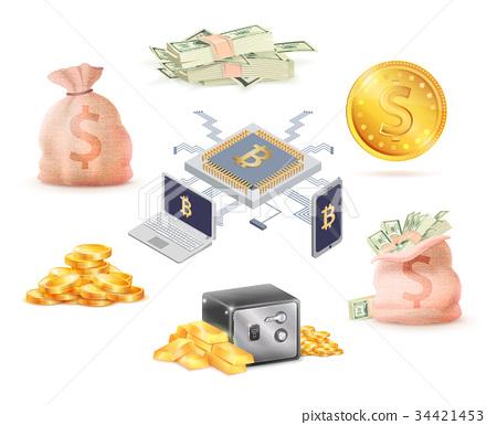 Set of Green Money, Golden, Online Cash, Bank Cell 34421453