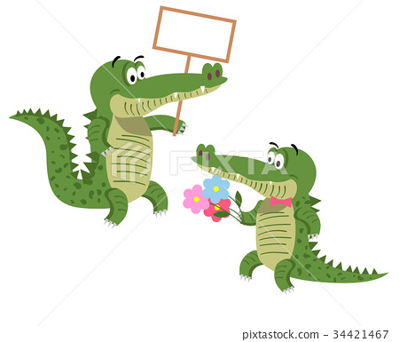 Friendly Cartoon Crocodiles Illustrations Set 34421467