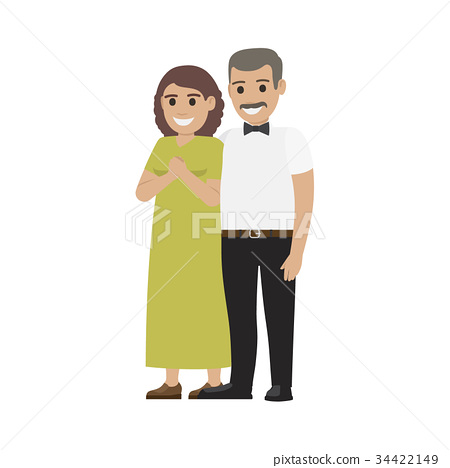 Middle-Aged Pair Standing Together Flat Vector 34422149