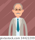 Old Male Character with Mustache Illustration 34422209