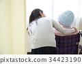 戰鬥疾病生活輪椅上的母親和小學女兒 34423190