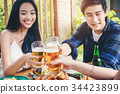 Group of young asian people celebrating beer 34423899