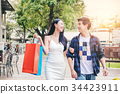 Couple Enjoying Romance Spending shopping bags 34423911
