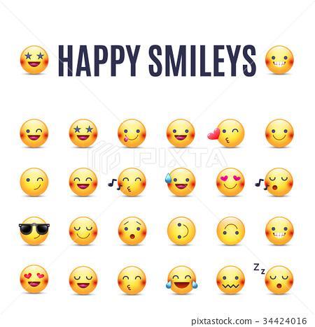 Happy smileys vector icon set. Emoticons 34424016