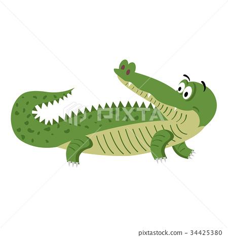 Cute Cartoon Crocodile in Natural Pose Isolated 34425380