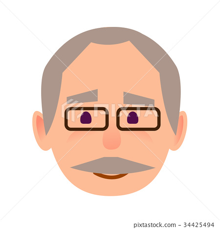 Positive Old Man in Glasses Face Flat Vector Icon 34425494
