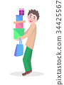Man with Gifts Boxes Flat Cartoon Vector Icon   34425567