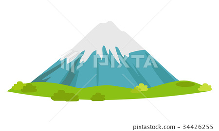 Snowy Mountain with Green Meadow at Foot Vector 34426255