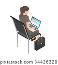 Businesswoman with Laptop on Chair Illustration 34426329