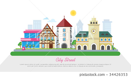 City Street In Sunny Day Flat Vector Banner 34426353