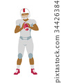 American Football Player in Equipment with Ball 34426384