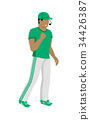 Cartoon Icon of Referee in Green and White Uniform 34426387
