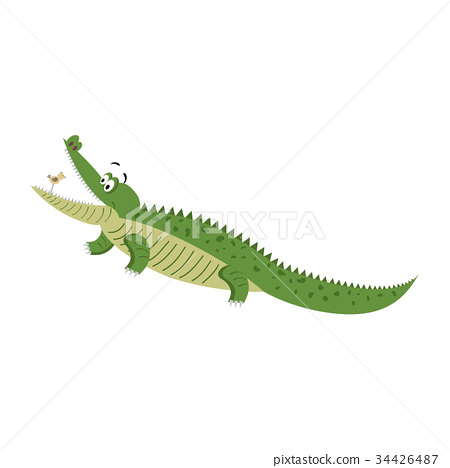 Cartoon Crocodile with Bird in Wide Open Mouth 34426487