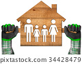 Wooden Model House with a Family 34428479