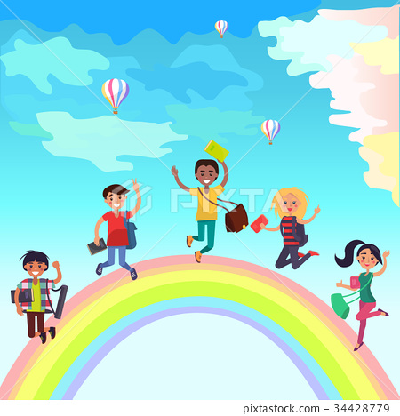Happy Jumping Students on Rainbow Illustration 34428779