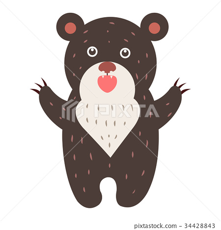 Cute Bear Cartoon Flat Vector Sticker or Icon 34428843