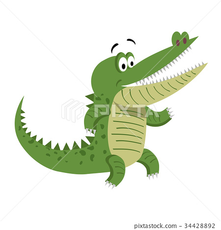 Cartoon Crocodile Standing with Wide Open Mouth 34428892