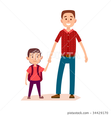 Smiling Father Holding Little Schoolboy's Hand 34429170