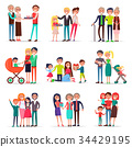 Concept of Parents Day on White Background Flat 34429195