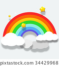 Beautiful rainbow on clouds with star illustration 34429968