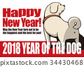 2018 New Year's card template _ ass bare dog _ with English supplement _ White _ horizontal position 34430468