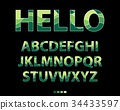 Colorful alphabet uppercase green and yellow font 34433597