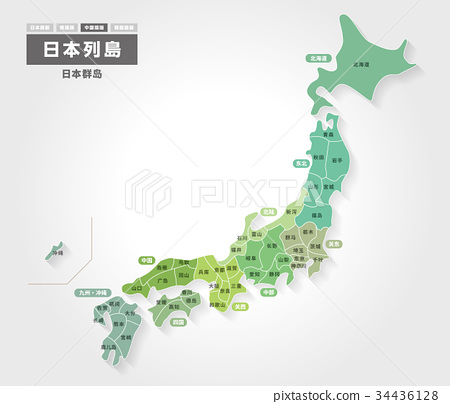 Japan map with prefecture name (Chinese version) 34436128