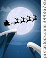 Santa Claus and Reindeer Sleigh Flying 34436736