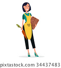 Woman Cooker in Yellow Apron with Cutting Board 34437483