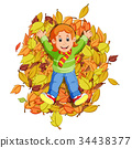 Happy little girl playing with autumn leaves 34438377