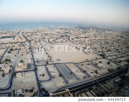 Cityscape in the desert of Dubai looking down from a high-rise hotel Road and cityscape like a gridboard 34439725