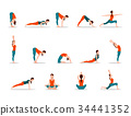 Young Girl Practicing Yoga, Set of Different Poses 34441352