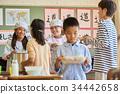 小學生 學校午餐 設定位置或桌子 34442658